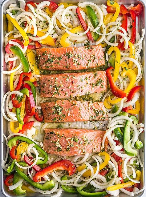 Sheet Pan Garlic Lime Salmon- this healthy sheet pan dinner is easy to make and a great weeknight meal everyone will love! #dinner #healthy #salmon