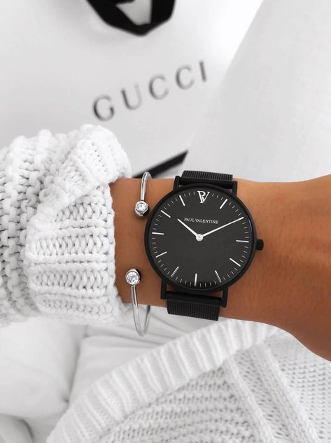 High Quality & Stylish Watches - The Paul Valentine, Feliz Black Mesh. Featuring Matt Black Stainless Steel & one of the finest stainless steel Mesh straps