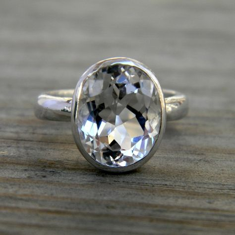White Topaz Ring, Oval Ring in Sterling Silver, Recycled Silver, Eco Friendly