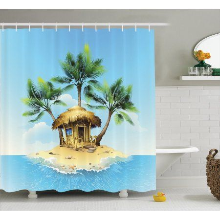 Tropical Decor Shower Curtain Set Tropical Wooden Bungalow And