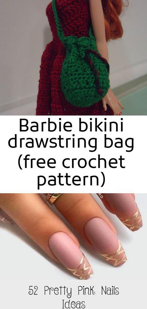 Barbie bikini drawstring bag (free crochet pattern)