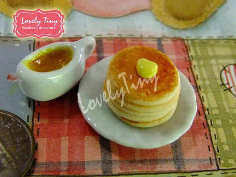 4 Dollhouse Miniature Pancakes with Butter Doll Mini Tiny Food Breakfast Set
