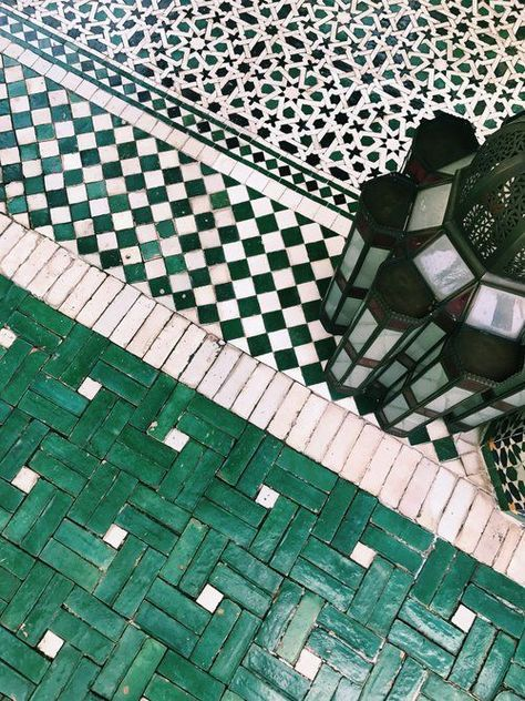 Moroccan Decor 67285 Moroccan lanterns and green tiles. Get beautiful Moroccan pieces and mosaic tile-work pieces at MIX!