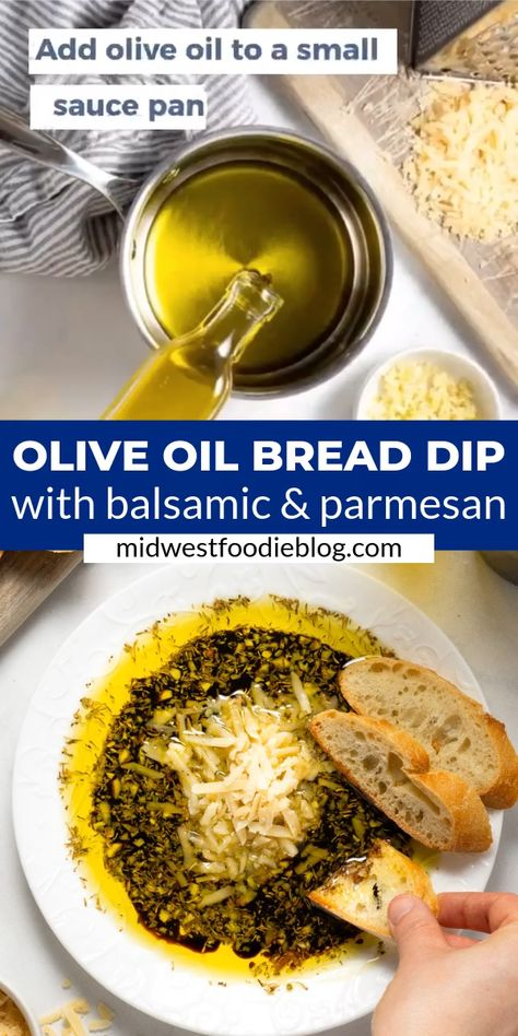 Less than 20 minutes to make (and most of that time is just heating olive oil and garlic!). In this easy appetizer, olive oil and balsamic vinegar pair with herbs and garlic for the easiest and most delicious bread dipping oil combo you've ever had! Best enjoyed with crusty French bread and a big glass of red wine!