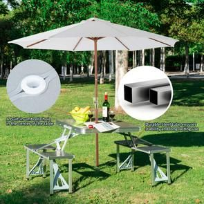 Aluminium Alloy Outdoor Camping Picnic Table Integrated Folding Table And Chair In 2020 Camping Picnic Table Folding Table Picnic Table