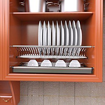 Vadania 2 Tier Stainless Steel Cabinet Dish Drying Rack Plate Storage Organize Dish Rack Drying Beautiful Kitchen Cabinets Kitchen Cabinets Storage Organizers