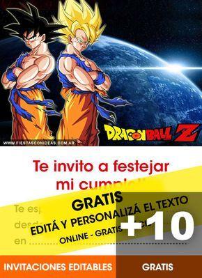 14 Tarjetas De Cumpleaños De Dragon Ball Z Para Editar