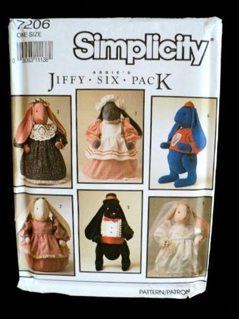 Simplicity 7695 Bean Bag Animal Clothing Pattern New /& Uncut or Cut /& Complete