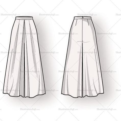 Fashion Drawing Women's Long Pleated Skirt Fashion Flat Template - Women's long high waist pleated skirt illustration with darts at and invisible zipper closure at back. Includes front and back of fashion sketch.