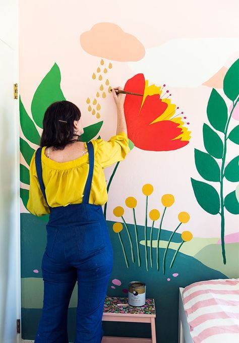 How To Paint Wall Murals For Kids 10 Easy Diy Projects The Budget Decorator Kids Wall Murals Wall Murals Painted Playroom Mural
