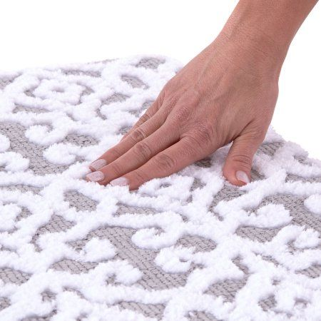 Better Homes And Gardens Jacquard Memory Foam Bath Rug Silver