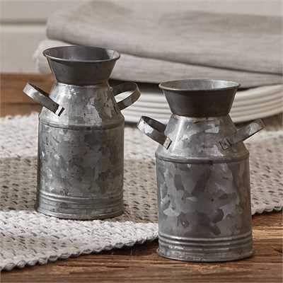 Galvanized Milk Can Salt Pepper Set Milk Cans Canning Mini Milk
