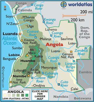 Angola On Africa Map.Map Of Angola Southern Africa In 2019 Pinterest Angola Africa