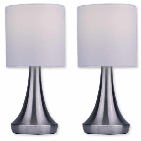 Light Accents Touch Table Lamp 13 Tall With 3 Stage Dimmer And White Fabric Drum Shade 2 Pack Walmart Com Touch Table Lamps Stylish Table Lamps Modern Table Lamp