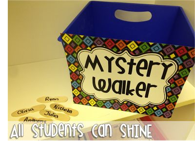 """Mystery Walker. This one has saved me so many headaches! Once we are all lined up and ready to leave the classroom, I choose a name from the bucket and put it in my pocket. This is our """"mystery walker'. I keep my eyes on this child while we are walking in the hall. If this child has been on his/her best behavior, he/she gets to pick a prize from my treasure box when we get back to class."""