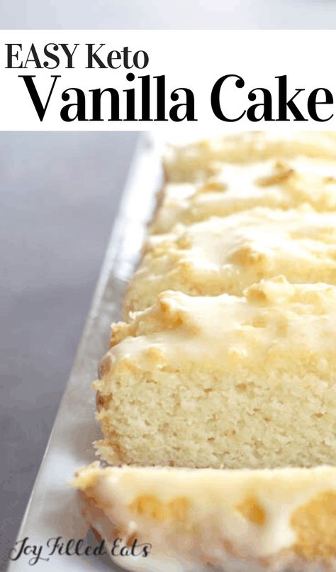 dessert recipes Imagine a cake thats moist, flavorful, perfectly sweet, and is drizzled in a delightful glaze. Thats precisely what you get when you make this Keto Vanilla Cake! Sugar Free Treats, Sugar Free Desserts, Sugar Free Recipes, Low Carb Desserts, Easy Desserts, Low Carb Recipes, Gluten Free Sugar Free Cake Recipe, Healthy Dessert Recipes, Keto Snacks