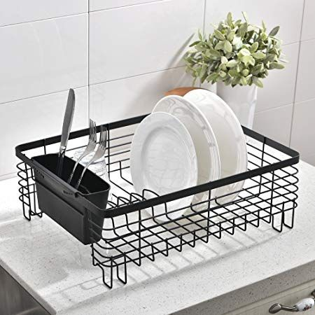 Wtape Commercial Steel Rust Proof Kitchen In Sin Draining Dish Drying Rack Black Dish Rack With Black Cutlery Bin Revi Dish Rack Drying Dish Racks Drying Rack