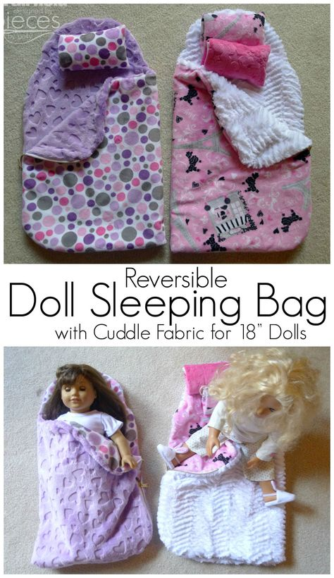 Doll Sleeping Bag with Cuddle Fabric - Fairfield World Craft Projects Free Pattern for making a super cozy Reversible Doll Sleeping Bag. I want one for myself!Free Pattern for making a super cozy Reversible Doll Sleeping Bag. I want one for myself! Sewing Doll Clothes, Baby Doll Clothes, Sewing Dolls, Ag Dolls, Barbie Clothes, Girl Dolls, Bags Sewing, Troll Dolls, Reborn Dolls