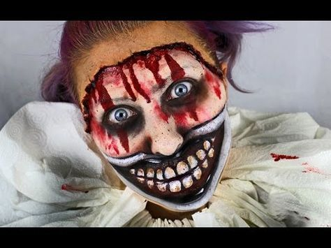 Twisty the clown American Horror Story inspired Halloween makeup tutorial.