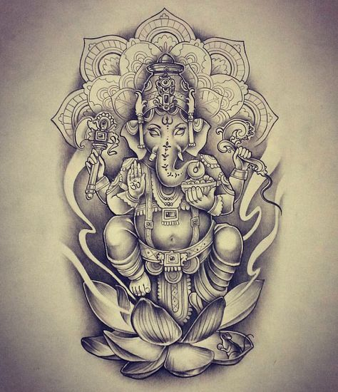 Tattoo Mandala Elephant Ganesh 31 New Ideas Tattoo Mandala Elephant Ganesh 31 New Ideas Kunst Tattoos, Body Art Tattoos, New Tattoos, Tattoo Drawings, Sleeve Tattoos, Ganesh Tattoo, Mandala Tattoo, Hindu Tattoos, Lotus Tattoo