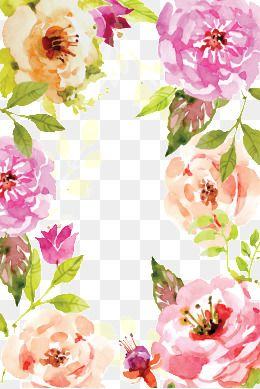 2020 的 Watercolor Flowers Border Vector Watercolor Pretty