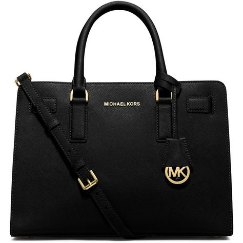 MICHAEL Michael Kors Dillon East-West Saffiano Satchel Bag found on Polyvore featuring bags, handbags, purses, black, satchel handbags, black bag, satchel hand bags, michael michael kors and zip bags