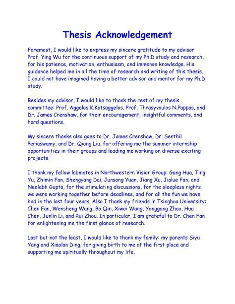 Writing An Acknowledgement For A Thesi Best Essay Service Good Professional To Parent In Dissertation