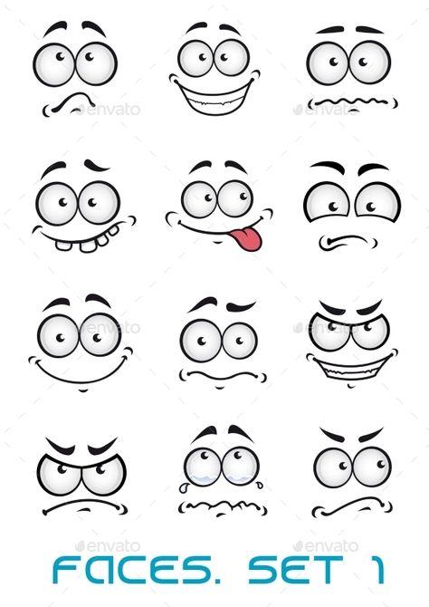 Cartoon faces with different emotions ashappiness, joyful, comics, surprise, sad and fun  FLAT    SPORTS  MASCOTS    MEDICINE