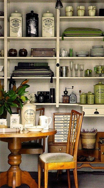 Pretty shelves and vintage goodies.