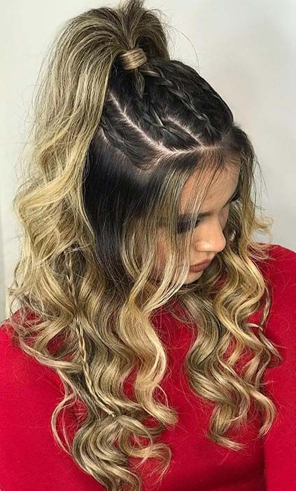 31 Boho Braided Ponytail Love the boho hairstyles Then you need to check out this idea Here we have a ponytail with loose curls, twists and a fishtail braid It is a gorgeous hairstyle that is elegant and trendy This is perfect for someone who wa - b Braided Ponytail, Half Ponytail, Braided Prom Hair, Braids Into Ponytail, Easy Prom Hair, Prom Updo, High Ponytails, Half Updo, Twist Braids