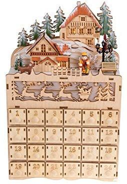 Amazoncom Clever Creations Wooden Christmas Village Advent