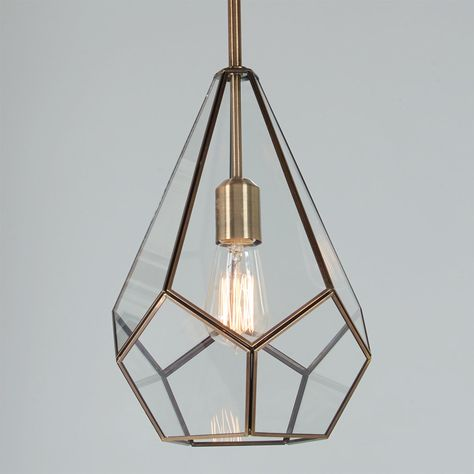 Mod and trendy, with its diamond geometric lines, clear glass and burnished antique brass finish, this pendant will captivate and draw you in. A perfect choice for midcentury interiors! Bathroom Pendant Lighting, Bathroom Ceiling Light, Ceiling Lights, Vintage Pendant Lighting, Antique Lighting, Geometric Pendant Light, Brass Pendant Light, Pendant Lights, Pendant Lamps