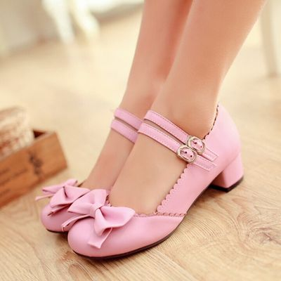 Cute Bowtie Mary Janes Block Mid Heels Ankle Strap Womens Lolita Shoes MOON