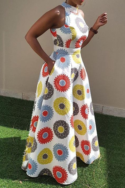 Material Twilled Satin Silhouette Expansion Dress Length FloorLength Sleeve Length Sleeveless Combination Type Single Waist Line StandardWaist Closure Pullover Elasticity MicroElastic Detachable Collar No Pattern Geometric,Color Block Embellishment - f Latest African Fashion Dresses, African Dresses For Women, African Print Dresses, African Print Fashion, African Attire, Ankara Dress Styles, African Dress Designs, African Dress Styles, Africa Fashion