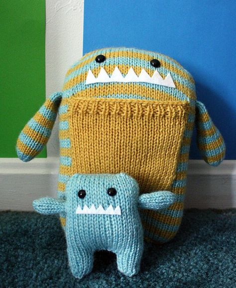 91e1ef27e Hand Knit Mama and Baby Monster Plush Set by Rhymes with Ellie ...