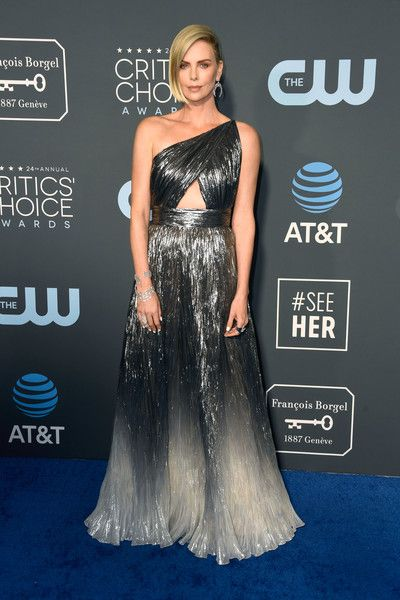 Charlize Theron  attends the 24th annual Critics' Choice Awards at Barker Hangar.