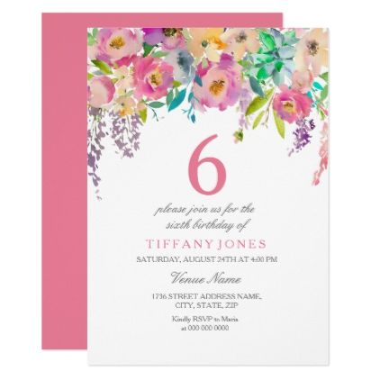 Pastel Watercolor Flowers Girls 6th Birthday Party