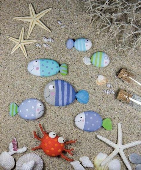Manualidades para niños: personajes marinos con piedras pintadas
