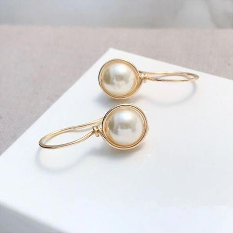 Drop Pearl Earrings Gold Filled Handmaldjewellery