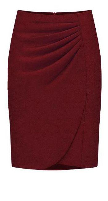Purplish-red Fashion Professional Skirt - Sheinside.com