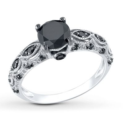 Black Diamond Ring 1 1 4 Carats Tw 10k White Gold Black Diamond Wedding Rings Black Diamond Engagement Antique Wedding Rings