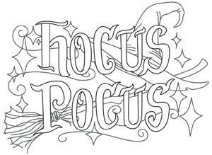 Tricks Treats Hocus Pocus Urban Threads Unique And Awesome Embroidery Designs Halloween Coloring Pages Halloween Coloring Halloween Embroidery