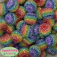 20mm Mint Stripe Resin Chunky Gumball  Bubblegum Beads 20 pc.