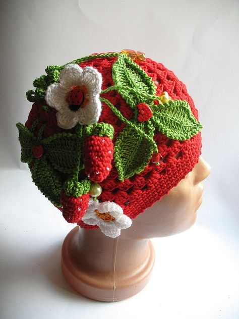 Cotton Beanie OOAK in Red with Strawberry by ninellfux,