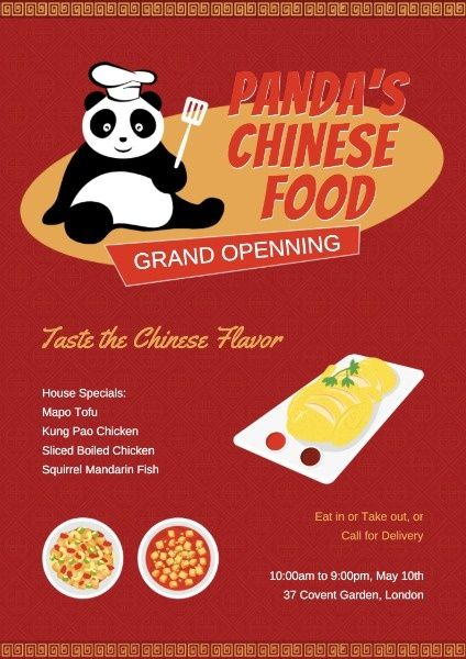 How To Design A Panda Chinese Restaurant Poster Click Here Restaurant Poster Chinese Restaurant Poster Maker