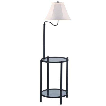 Mainstays Transitional Glass End Table Floor Lamp Matte Black Walmart Com Glass End Tables Floor Lamp Table Vintage Floor Lamp