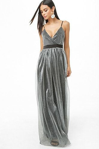 Metallic Surplice Maxi Dress Dluga Sukienka Sukienka