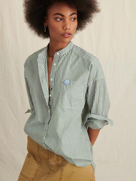 Popover Tunic in Bi-Striped Cotton