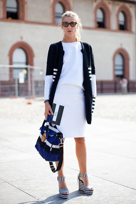 STREET STYLE SPRING 2013: MILAN FW - Stripes on stripes achieve an unexpected subtlety here.