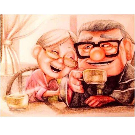 5D Diy Diamond Embroidery Cartoon Old Couple Drink coffee Diamond Mosaic Diamond Painting Cross Stit